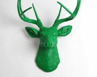 Faux Deer Head - The Liam - Kelly Green Resin Deer Head- Deer Antlers Decor - Faux Head Wall Mount by White Faux Taxidermy