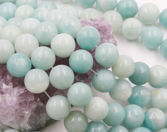 Lot of 5 strands 12mm Blue Amazonite (N) Loose Spacer Beads Round 15.5 inch strand (BD5929)