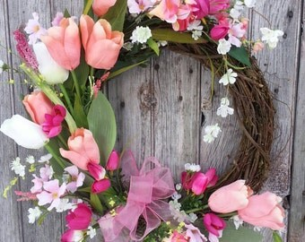Tulip Wreath, Coral, Pink, White, Spring Wreath, Summer Wreath, Mother's Day, Easter Decor