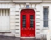 Paris Red Door Photography, Door Print, Red Door, French Home Decor, Rustic Paris Print, Red Door Art, Fine Art Travel Photography