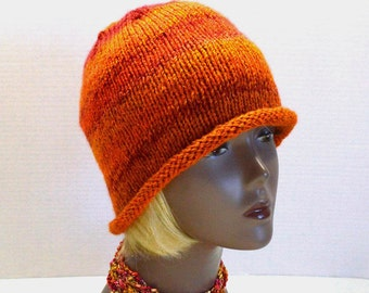 Hand Knit Rolled Brim Hat: Orange Striped Bucket Hat, Retro Slouchy Hat, Handmade in the USA, Vegan Hats, Ready to Ship