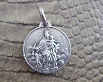 Scapular Medal SACRED HEART of JESUS & Blessed Mother Mary (Mt. Carmel) 2 Side Design, Medium Size. 925 Silver. Italian Made Pendant Charm