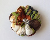 Pincushion HORSE FABRIC. Great for a sewing gift - Round Cushion for pins. Double Sided brown white Horses.