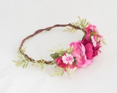 Garden Party Flower Crown / Hair Wreath - Shades of Pink & Spring Green - One of a Kind