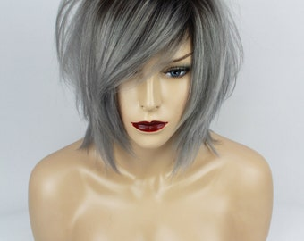 Ombre Brown & Grey Human Hair Wig. Uni-Sex, One Size.