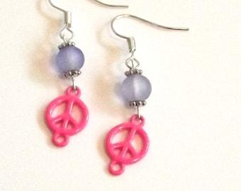 Handmade Pink and Blue Peace Eye Earrings, Peace earrings - Unique