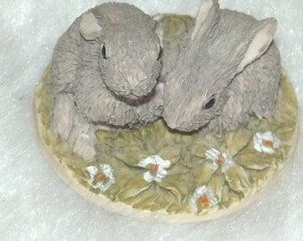 Vintage miniature rabbits 1980's-Vintage 1980's miniature rabbit ornaments