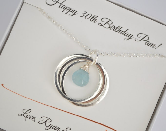 30th Birthday gift for women, Gift for girlfriend, Aquamarine birthstone jewelry, 3rd Anniversary gift ,Best friend necklace,Sister jewelry