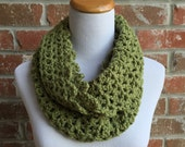 Olive Green Infinity Scarf - Olive Scarf - Olive Crochet Scarf - Olive Knit Scarf - Green Infinity Scarf - Chartreuse Scarf