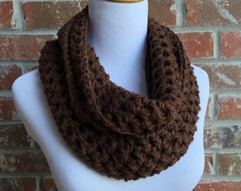 Brown Scarf - Brown Infinity Scarf - Brown Crochet Scarf - Brown Knit Scarf - Women's Brown Scarf - Brown Circle Scarf
