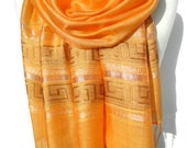 Orange Scarf. Sparkling Orange Shawl. Metallic Scarf. Greek Meander Design. Viscose Scarf. Greek Lines Scarf. 20x70in (50x180cm) Ready2Ship.