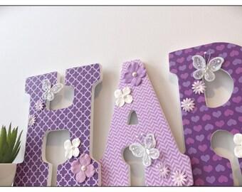 Lilac Nursery. Butterfly Lane. Purple. Lavender. Butterflies. Aqua. Baby Girl Nursery decor. Wood Letters. Purple. Grey. Wood Letters.