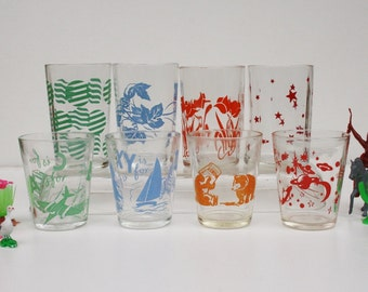 8 Vintage Children's Drinking Glasses