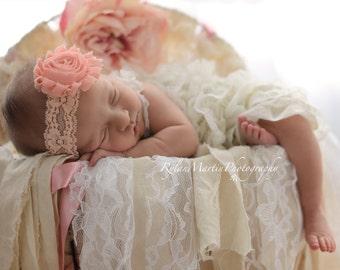 Pick Any lace shabby chic flower headband, newborn headbands, baby girl headbands, newborn photo prop, lace headbands, baby shower gift