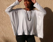 White Cotton Knit Tee ~ Long Sleeve Boxy Tee ~ Slouchy Pull Over  ~ All Sizes / Colors ~