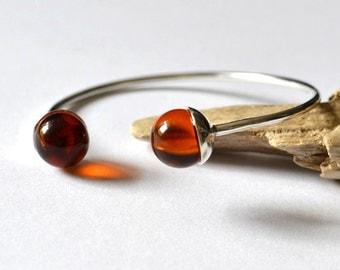 Cognac Amber Bracelet, Natural Amber Cuff Bracelet, Modern Amber Jewelry