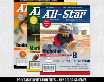 Sports Magazine Cover Party Invitation (print your own) Personalized Printable PDF File - Any Color Scheme - All Star Birthday - Size 5x7