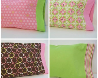 Organic Toddler Pillowcase, Travel Pillowcase, Cotton Pillowcase, Pillow Case, Pink, Green, Floral Pillowcase, Toddler Pillowcase
