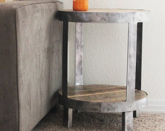 Reclaimed Wood Side Table, Round Bi-Level