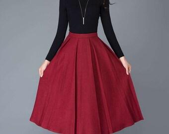 red skirt, midi skirt, wool skirt, women skirts, winter skirt, wool skirt, pleated skirt, long skirt, long wool skirt, red long skirt  C1032