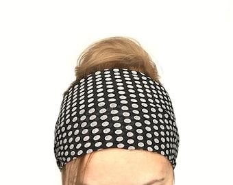 extra wide headband black polka dot yoga headwrap women headband jersey large workout fitness head wrap black bandana