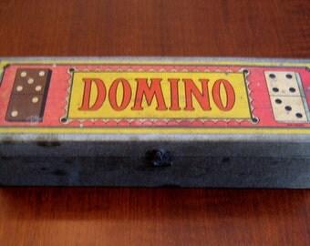 Vintage Domino Game Set - Wooden Domino Set - Antique Toy Game - Airplane Embossed Domino Set - Complete Set Black Wooden Dominos