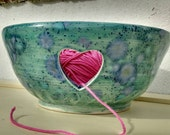 Pottery Yarn Bowl UK Knitting Bowl Handmade - Speckled Greens, blues, turquoise and lilac - Crystalline Glazing