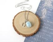 Simple Aquamarine Gemstone Necklace with Wishbone Charm, March Birthstone Jewelry