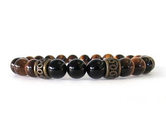Men's Bracelet with Tiger Eye, Black Onyx and Antiqued Brass Accent Beads - M09171