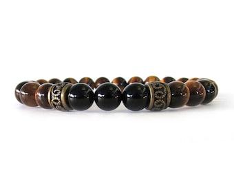 Men's Bracelet with Tiger Eye and Onyx Beads - Tiger Eye Bracelet - Men's Jewelry - Gemstone Bracelet - Bracelets for Men - M09171