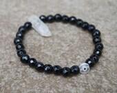 Black Bead Bracelet with White Quartz Crystal Bracelet, Healing Bracelet, Boho Beaded Bracelet, Evil Eye Bracelet, Bohemian, Gift for Her