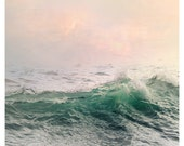 Large Sea wall art, water landscape photography, ocean wave art print, pastel pink green nautical decor, oversized photo poster, 20x20,24x24