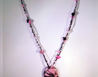Pink Matrix Pyrite Turquoise Pendant Necklace - N009