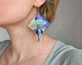 Hand painted Paper earrings with raw kyanite crystal, Abstract earrings, Paper Art, Quirky earrings Contemporary Jewelry, Big Funky Earrings