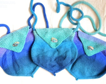 SALE Mermaid's Purse Shoulder Bag Hand Knit in Blues, Lilac & Turquoise with Paua Shell Button