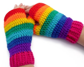 Rainbow Fingerless Gloves Multicolor Striped Texting Gloves Kawaii Hand Warmers Cute Girls Crochet Gloves Womens Decora Bright Texting Mitts
