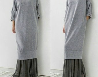 Grey Maxi dress/ Long dress/ Oversized dress/ Plus size dress/ Casual dress/ Day dress/ Spring dress