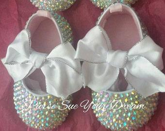 Crystal Swarovski Rhinestone Baby Ballet Shoes - Swarovski Baby Shoes - Christening/Baptism/Pageant/Wedding Shoes - Wedding Shoes