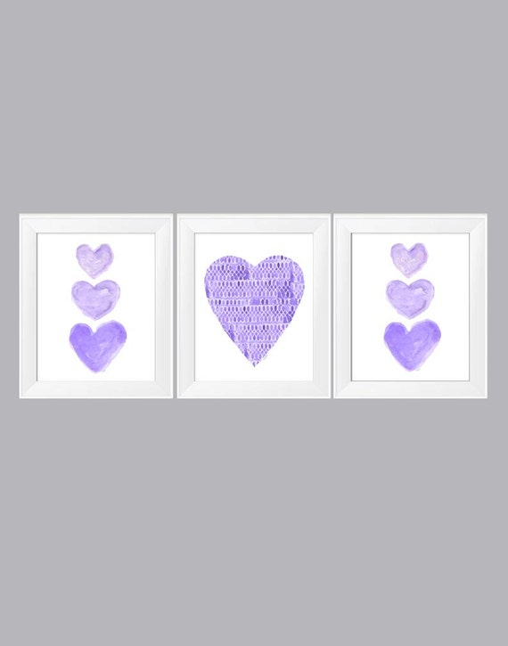 Purple Girls Room Wall Decor, 11x14 Set of 3 Heart Prints
