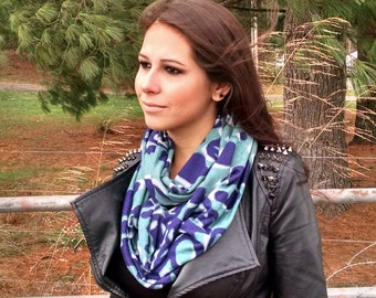 Infinity Scarf Soft Jersey Navy and Green Spotted Print Girlfriend Gifts