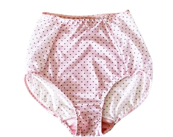 Pink Panties Retro High Waist Mesh Panel Sheer Lingerie Polka Dot Underwear