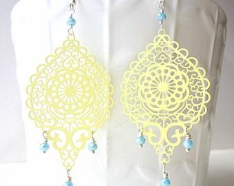 Pale Yellow Earrings, pastel earrings, long earrings, glam earrings, summer trends 2018,  lace earrings, filigree earrings, beach earrings