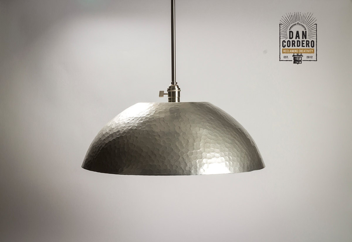 Hammered Shade Gold Amp Brushed Nickel L Pendant Light Fixture