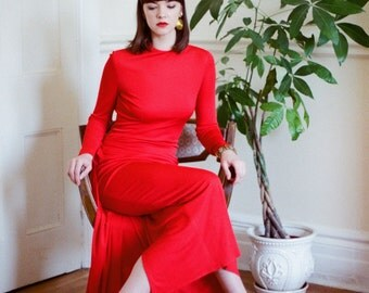 JEAN-LOUIS SCHERRER #'d Couture Gown, Designer Minimalist Modern Red Gown, Bias Cut Draped Jersey with Gathered Wrap Train