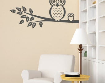Owl with owlet Vinyl Wall Decal (many sizes to pick from) for living room, nursery, kitchen, bedroom + more K607-W