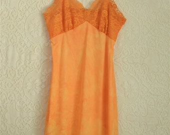 vintage 1960s orange dyed slip with floral lace