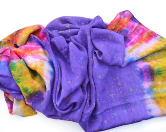 Large Soft Silk Tie Dye Scarf, Handmade Purple Silk Scarf, Hippie, Gypsy, Boho Scarf, Indian Scarf, Silk Wrap, Silk Shawl