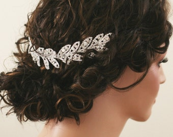 Ebba - Bridal HeadPiece - Wedding hair accessory  - Crystal Leaf Hair Vine Bridal Hair Accessory - Bridal Hair Piece