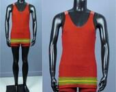 Men's Swimsuit -- Vintage 1920s Vivid Red Men's One Piece Swimsuit -- Bryson 100% All Wool