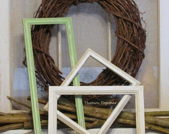 Rustic Farmhouse Decor, Wood Picture Frames, Distressed Wood Frames, Green Ivory Frames, Photo Frames, Distressed Wood Wedding Frames